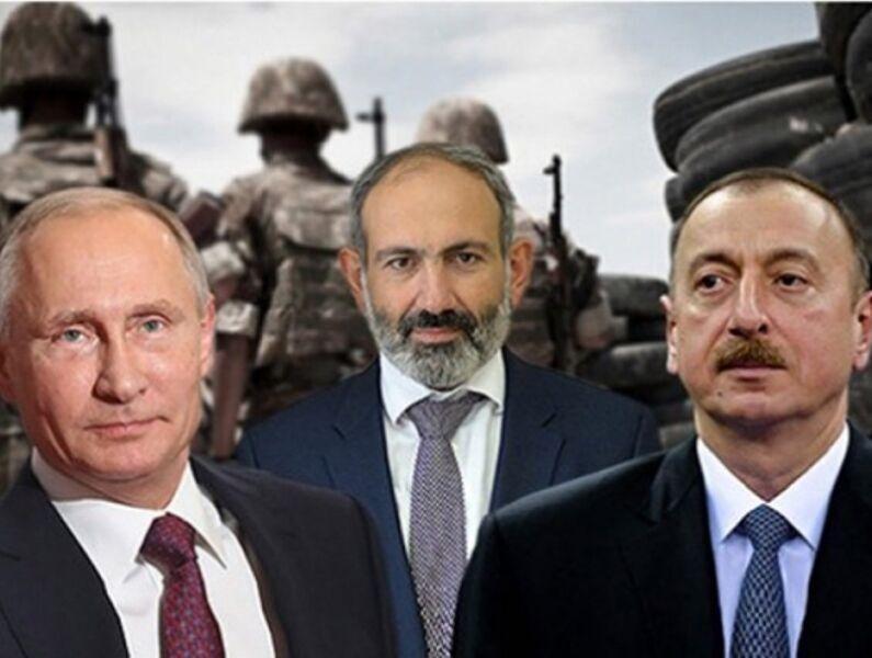 مذاکرات پوتین با علی اف و پاشینیان درباره اجرای توافق صلح