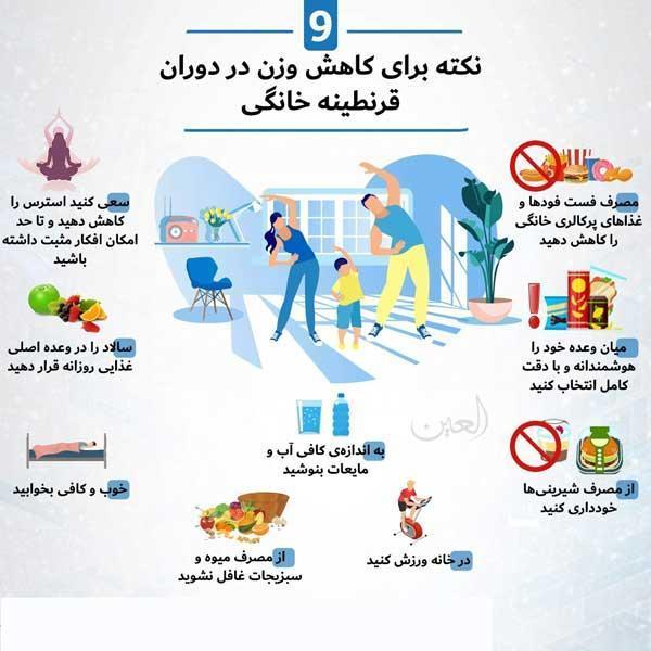 نکاتی برای کاهش وزن در دوران قرنطینه خانگی